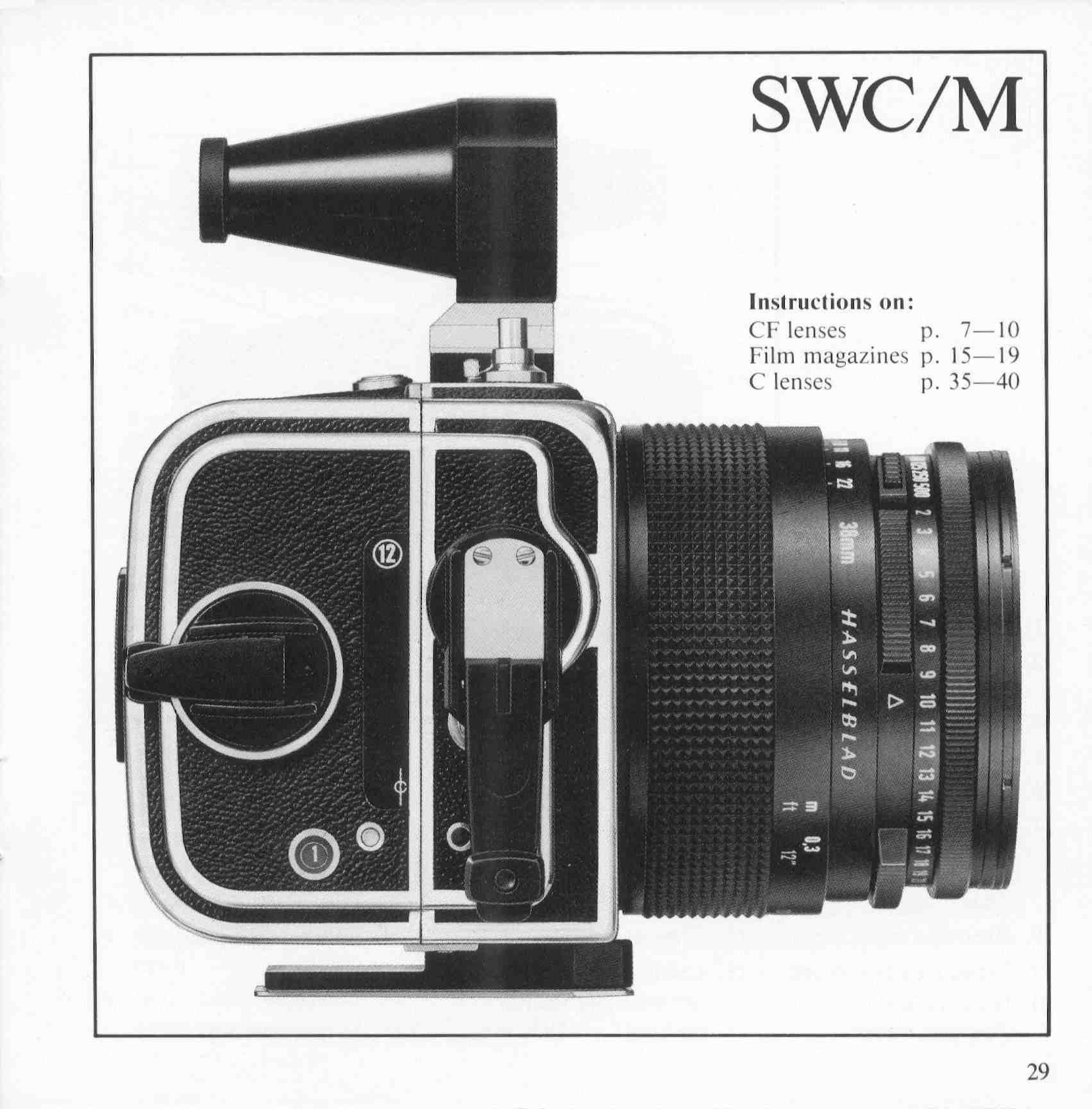 Hasselblad 500C/M, 500 EL/M, SWC/M Instruction Manual